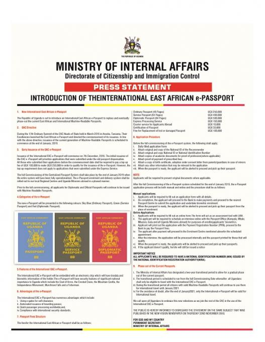 INTRODUCTION OF THE INTERNATIONAL EAST AFRICAN e-PASSPORT